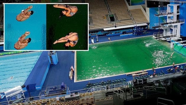 """""""Augen schmerzen!"""" Grünes Wasser quält Athleten (Bild: ASSOCIATED PRESS)"""