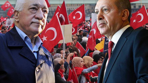 Gülen (li.) und sein Kontrahent, der türkische Präsident Recep Tayyip Erdogan (Bild: APA/AFP/dpa/OLIVER BERG, APA/AFP/KAYHAN OZER)