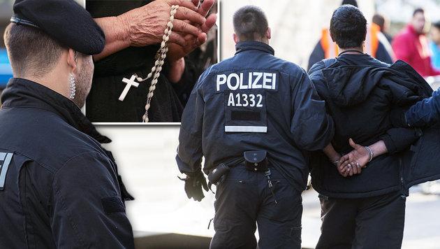Muslimische Flüchtlinge drohen Christen mit Tod (Bild: AFP, AHMAD AL-RUBAYE/AFP/picturedesk.com)
