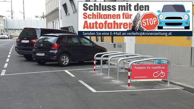 Wo einst ein Platz für einen Pkw war, ist in der Weisselgasse 24 plötzlich eine Radstation. (Bild: Wolfgang Irschik)
