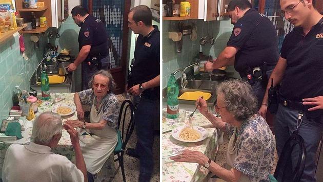 Rom: Polizisten trösten betagtes Paar mit Pasta (Bild: Questura di Roma)