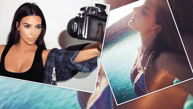 Ansichtskarte vom Ich: Der Selfie-Wahn der Stars (Bild: instagram.com/kimkardashian, instagram.com/alessandraambrosio)