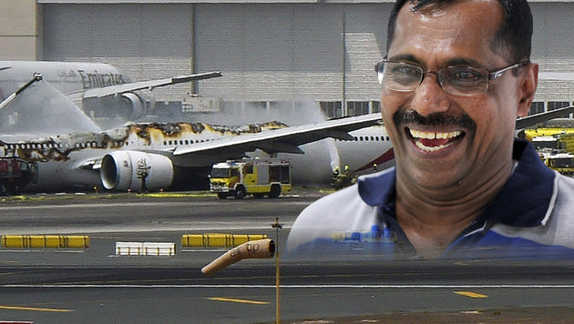 Flugzeug-Inferno überlebt, dann 1-Mio.-Lottogewinn (Bild: AP, APA/AFP/Gulf News Dubai/AHMED RAMZAN)