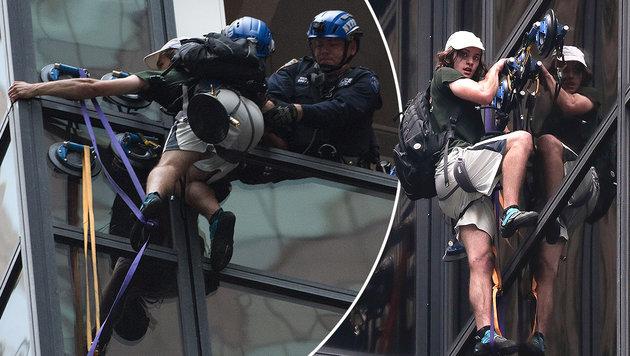 M�chtegern-Spiderman klettert auf Trump Tower (Bild: ASSOCIATED PRESS)