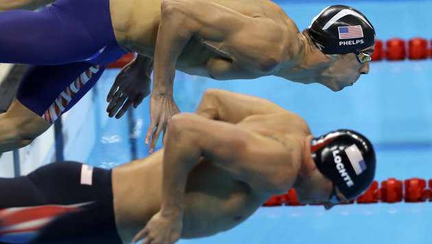 Phelps, Lochte schwammen sich fürs Lagen-Duell ein (Bild: AP)