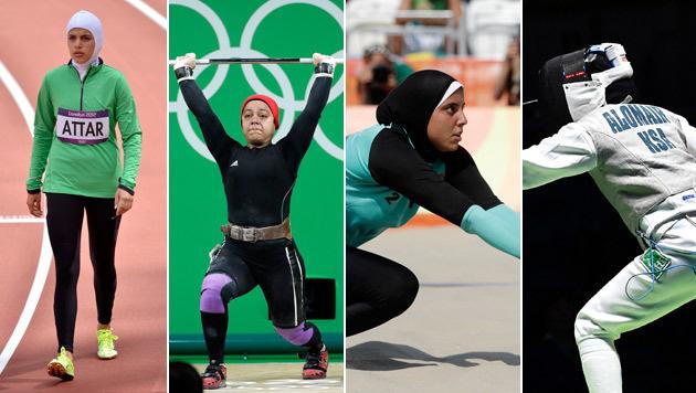 Von links: Sarah al-Attar, Sara Ahmed, Doaa Elghobashy, Lubna Alomair (Bild: AP, EPA)