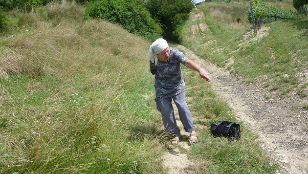 Frau Z. zeigt auf eine Blutspur am Weg neben dem Weingarten. (Bild: zVg)