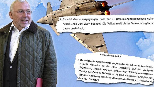 """Der Geheimvertrag zum Eurofighter-Skandal (Bild: AFP, APA/Helmut Fohringer, """"Krone"""", thinkstockphotos.de)"""