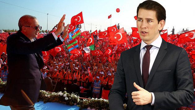 Erdogans T�rkei entfernt sich von der EU; Kurz fordert sofortigen Abbruch der Beitrittsgespr�che. (Bild: APA/Au�enministerium/Dragan Tatic, APA/AFP)