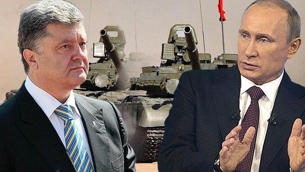 Gegenseitige Anschuldigungen zwischen Poroschenko und Putin schüren Ängste vor weiterer Eskalation (Bild: AP, AFP)