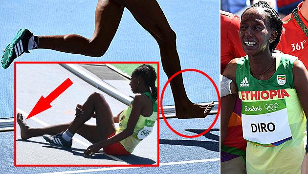Kurios! �thiopierin lief mit nur einem Schuh! (Bild: APA/AFP/JEWEL SAMAD)
