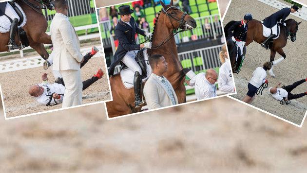Pferd tritt nach Gold-Ritt Pfleger k.o. (Bild: APA/AFP/JOHN MACDOUGALL)