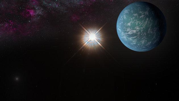"""Künstlerische Illustration: Die """"zweite Erde"""" vor dem Stern Proxima Centauri (Bild: NASA/JPL, NASA/AMES/JPL-Caltech/T. Pyle)"""