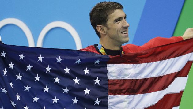 Wahnsinn! Phelps beendet Karriere mit Gold Nr. 23 (Bild: AP)