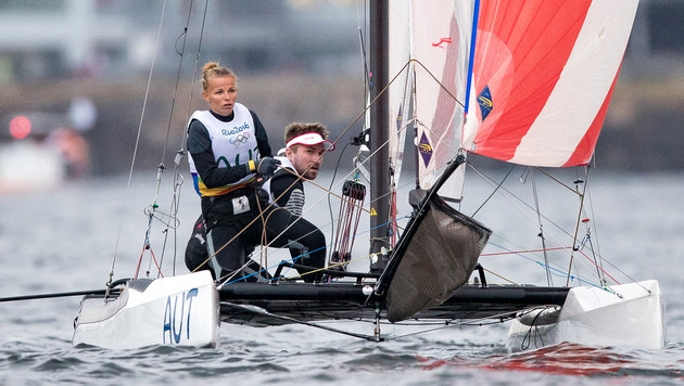Das bronzene Segel-Duo Zajac/Frank (Bild: APA/EXPA/JOHANN GRODER)
