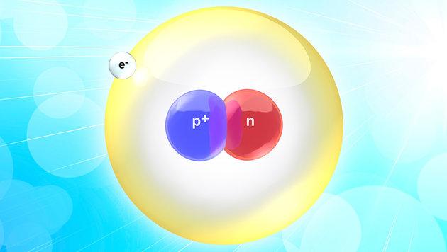 Das Deuteron besteht aus einem Proton (blau) und einem Neutron (rot) (Bild: thinkstockphotos.de, Wikimedia/Bruce Blaus (CC-BY-SA 3.0))