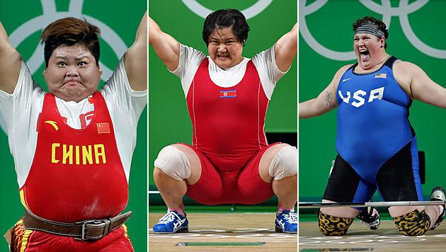 Von links: Meng Suping, Kim Kurk Hyang, Sarah Robles (Bild: AP, AFP)