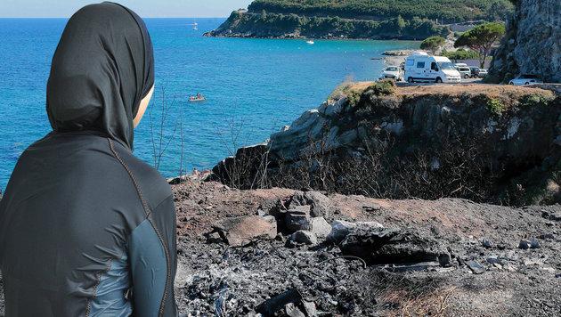 Wüster Streit wegen Burkini-Fotos auf Korsika (Bild: APA/dpa/Rolf Haid, APA/AFP/Pascal Pochard-Casabianca)