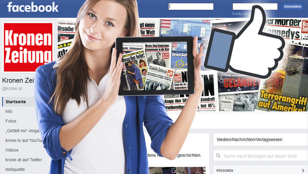 """Die """"Krone"""" freut sich über 200.000 Facebook-Fans (Bild: krone.at, facebook.com, thinkstockphotos.de)"""