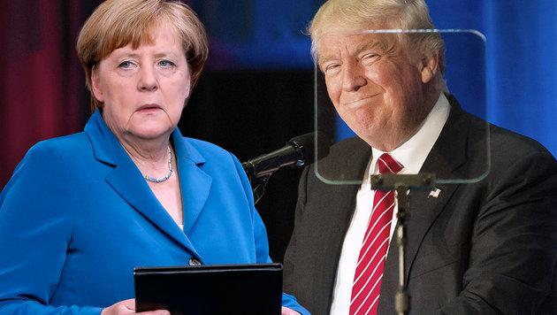 Merkel als abschreckendes Beispiel im US-Wahlkampf (Bild: AP/Michael Sohn, APA/AFP/JEFF SWENSEN)