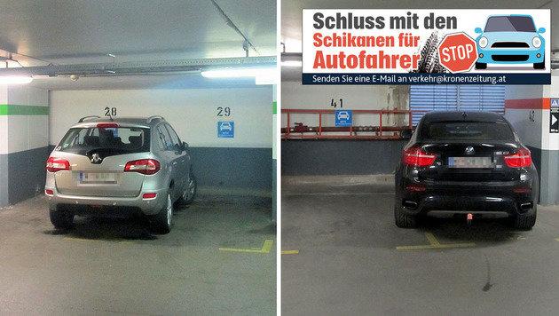 """Diese Autofahrer """"verparken"""" wertvolle Stellplätze (Bild: """"Krone""""-Leserreporter Karl Zeiner)"""