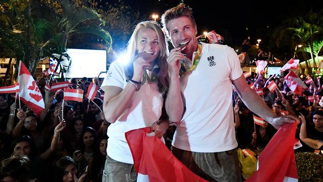 Riesen-Party f�r Olympia-Helden im �sterreich-Haus (Bild: APA/HANS KLAUS TECHT)
