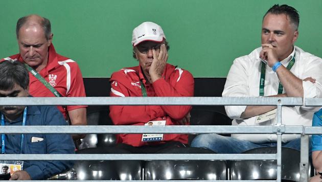 ÖOC-Generalsekretär Peter Mennel, Peter Schröcksnadel und Sportminister Hans Peter Doskozil in Rio (Bild: APA/HANS KLAUS TECHT)