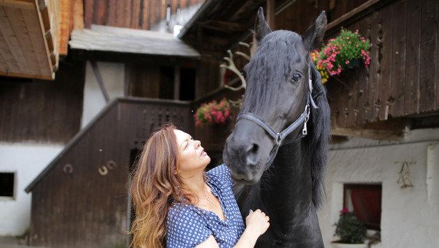 """Friesenhengst """"Morgenstern"""" wurde von Elisabeth selbst gezogen. Er ist die Ruhe in """"Pferdeperson"""". (Bild: Evelyn Hronek)"""