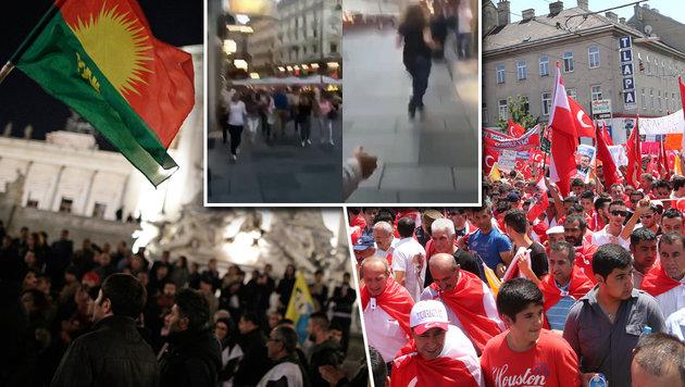 Feinde bis aufs Blut: Kurden gegen Türken in Wien (Bild: APA/Georg Hochmuth, zwefo, krone.tv)