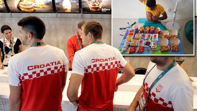 """Die kroatischen Handball-Herren in der McDonald""""s-Filiale im Olympischen Dorf (Bild: AP, facebook.com)"""