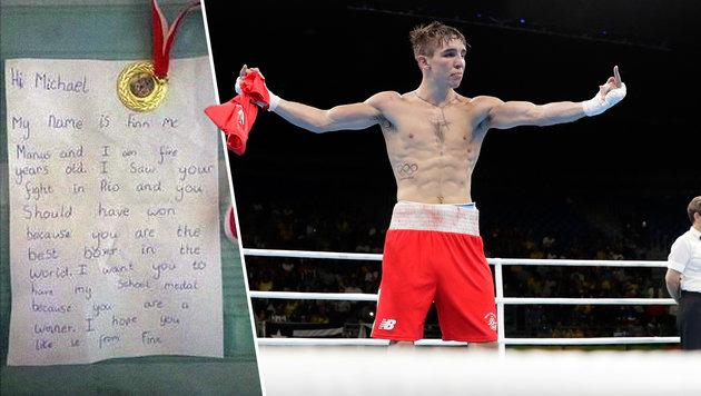 Nach Ausraster: Bub (5) schenkt Boxer Medaille (Bild: AP, facebook.com)