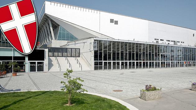 Stadthalle Wien: Acht Millionen Euro verspekuliert (Bild: Wikipedia.com/Bildagentur Zolles, Krone-Grafik)