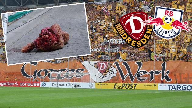 Bullenkopf-Wurf: Geldstrafe für Dynamo Dresden (Bild: GEPA, Dresden, RB Leipzig, twitter.com)
