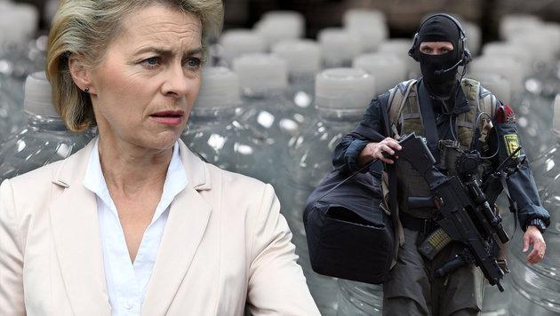 Von der Leyen will, dass sich die Bürger im Fall eines Terror-Angriffs selbst versorgen können. (Bild: thinkstockphotos.de, dpa/Franziska Kraufmann, AFP/ULI DECK)