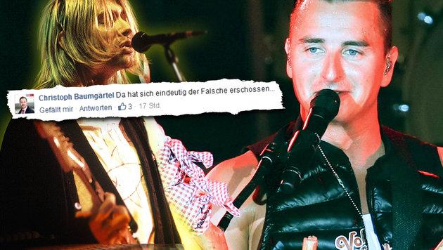 Kurt Cobain und Andreas Gabalier - außer einem Auftritt für MTV haben die beiden wohl wenig gemein. (Bild: facebook.com, Pressefoto Scharinger/S. Burgstaller, Viennareport)