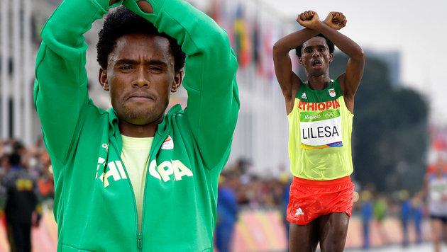 """Marathon-Zweiter: """"Vielleicht werde ich get�tet"""" (Bild: AFP/OLIVIER MORIN, AP/Robert F. Bukaty)"""