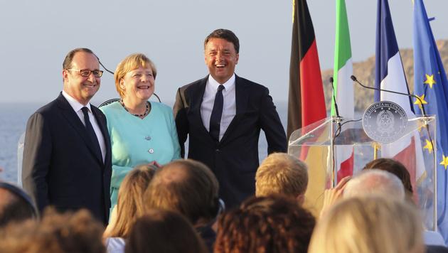 Francois Hollande, Angela Merkel und Matteo Renzi (Bild: AP)