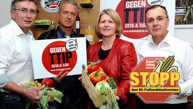 Die SPÖ-Ortschefs Thumpser, Kalteis, Dworak, Mandatarin Scheele (Bild: Franz Crepaz)