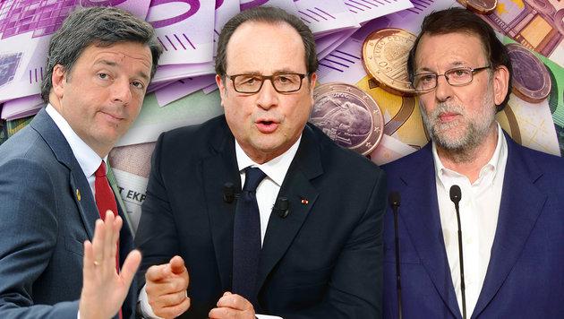 Krise im Land: Matteo Renzi (Italien), Francois Hollande (Frankreich) und Mariano Rajoy (Spanien) (Bild: thinkstockphotos.de, AP/Alik Keplicz, AFP)