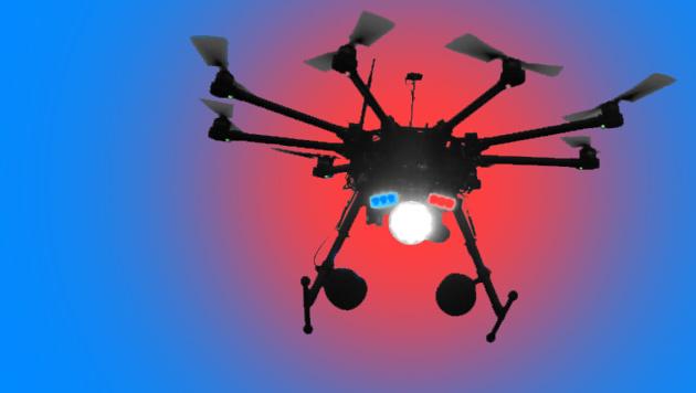 Wach-Drohne soll vor Einbrechern schützen (Bild: Aptonomy, krone.at-Grafik)