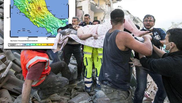 Massenhaft Tote bei schwerem Erdbeben in Italien (Bild: EPA, EPA/MASSIMO PERCOSSI)