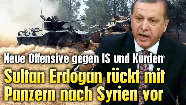 Sultan Erdogan r�ckt mit Panzern nach Syrien vor (Bild: AFP/ADEM ALTAN, AP)