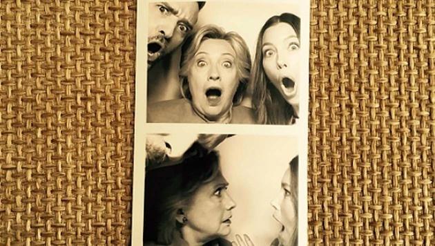 Jessica Biel, Justin Timberlake und Hillary Clinton schneiden Grimassen. (Bild: instagram.com/jessicabiel)