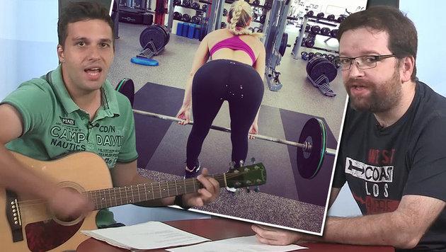 """Witzig? Das ist der neue """"Lindsey-Vonn-Popo-Song"""" (Bild: Instagram, krone.tv)"""