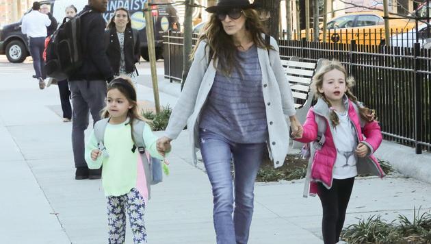 Sarah Jessica Parker mit ihren Zwillingen in New York (Bild: Viennareport)
