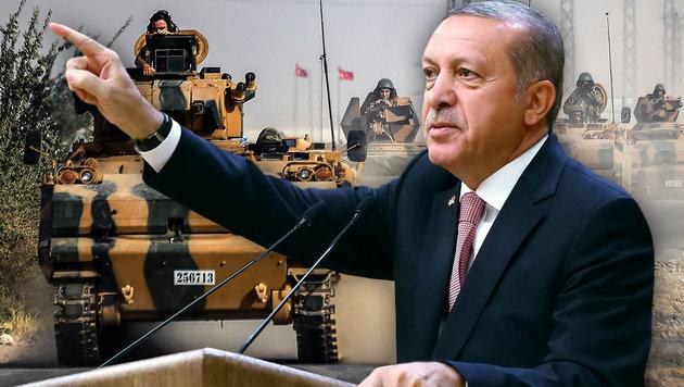 """Das sind die wahren Ziele von Erdogan in Syrien (Bild: APA/AFP/BULENT KILIC , APA/AFP/TURKEY""""S PRESIDENTIAL PRESS)"""