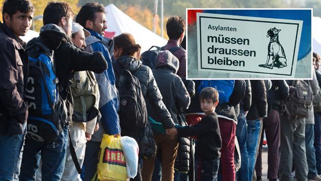 """Schild """"Asylanten müssen draußen bleiben"""" regt auf (Bild: DPA, Screenshot/TV Oberfranken)"""