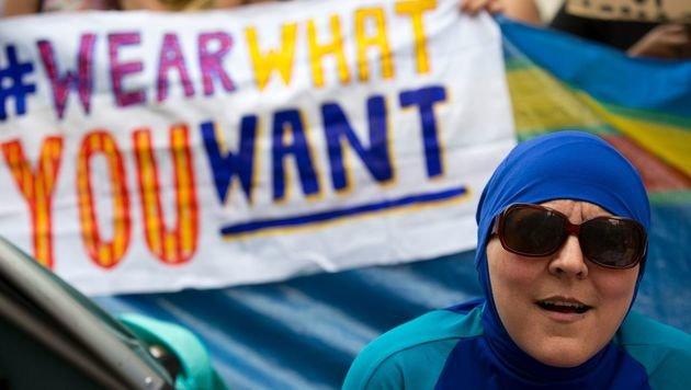 Demo gegen Burkini-Verbot (Bild: AFP or licensors)