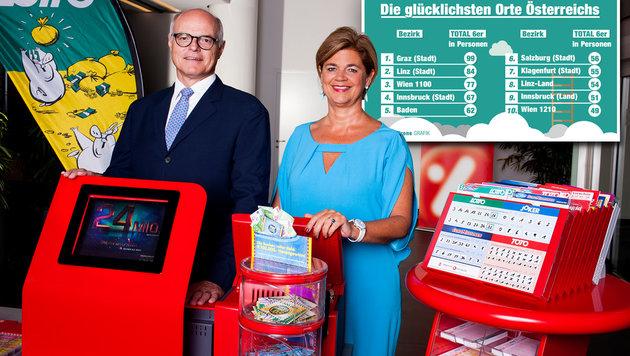 """Lotto-Chefs Karl Stoss und Bettina Glatz-Kremsner: """"Jährlich 840 Millionen Tipps"""" (Bild: Österreichische Lotterien/Achim Bieniek, Krone Grafik)"""