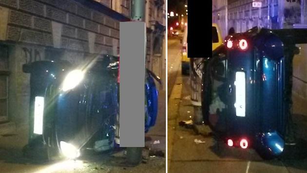 Mit Auto überschlagen: Lenker (23) schwer verletzt (Bild: LPD-Wien)
